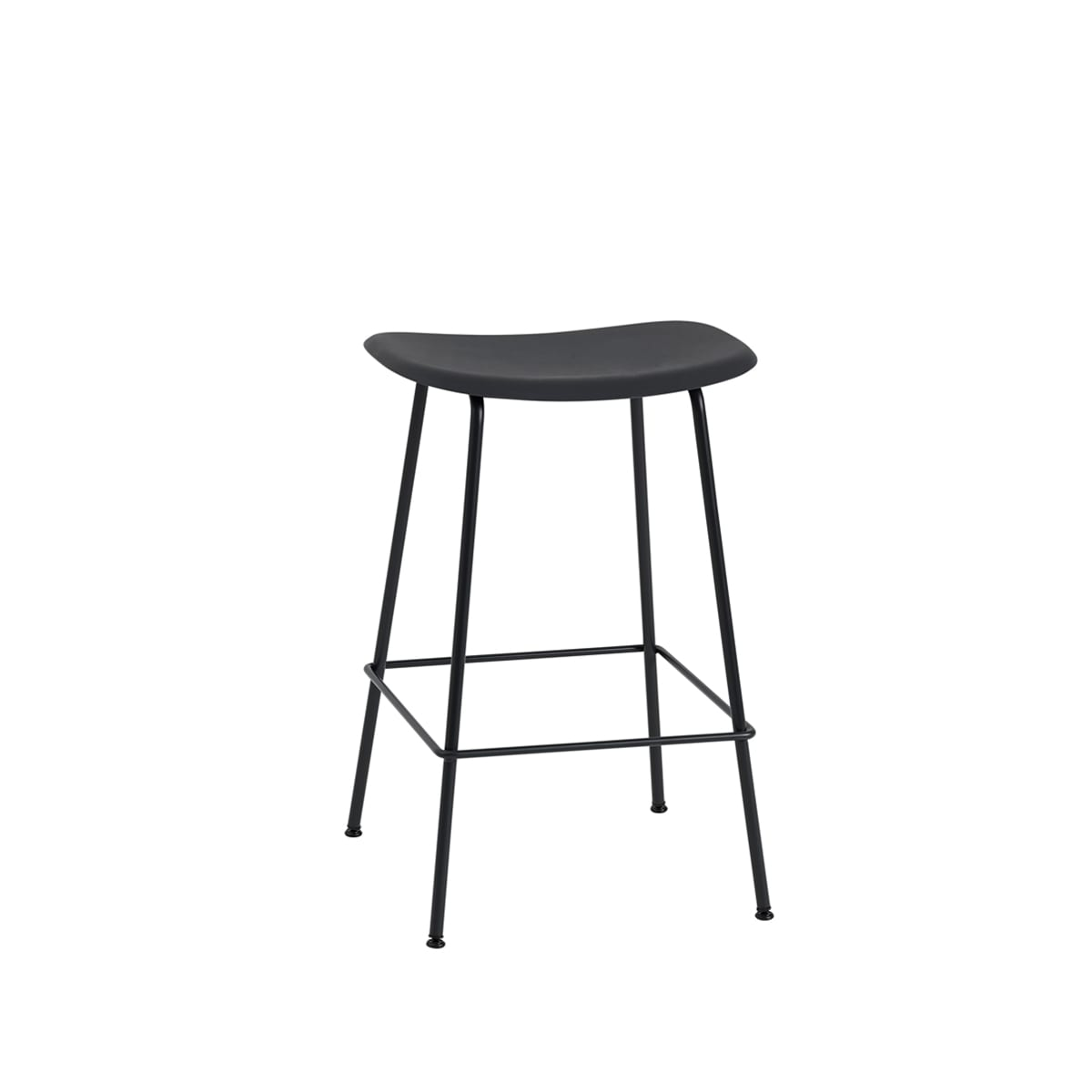 Fiber Bar Stool With Tube Base In Black Leather By Iskos